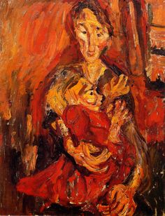 chaïm soutine(1894-1943), mother and child, c. 1919. oil on canvas, 94 x 73 cm. private collection http://www.the-athenaeum.org/art/detail.php?ID=56612