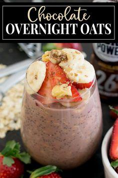 Protein Overnight Oats, Chocolate Overnight Oats, Overnight Oatmeal, Great Breakfast Ideas, Breakfast Options, Breakfast Recipes, Chocolate Oat Recipe, Chocolate Oats, Almond Milk Recipes