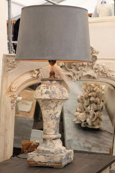 Great patina on this architectural lamp base.  Get this chippy look with Artisan Enhancements Crackle Tex and Chalk Paint®. Give it a protective matte finish with Clear Topcoat Sealer.