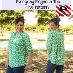 Share with:This beginner/intermediate pattern has all the style you need in a loose, flowy, comfortable shirt! It can be made with a woven or knit material, but works best with fabrics that have a soft drape. Sleeves are 3/4 with button tab, that can be worn year round. The longer curved hem is perfect to …