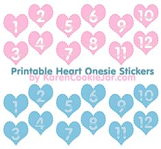 I've just created a new set… or make that two new sets of free printable onesie stickers for babies. This time the set is made in a heart shape (due to my recent heart clipart obsession…