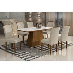 Conjunto Sala de Jantar Mesa Tampo Vidro/MDF Branco 6 Cadeiras Lunara Rufato Ypê/Veludo Creme - Móveis para Salas de Jantar | Magazine Luiza