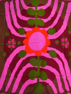 Made in Sweden Fabric Curtain Pair 60s Mod Pop art Lots of yardage Boras Boras Danish Modern Purple Hot Neon Pink.
