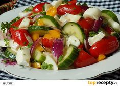 Zeleninový salát se dvěma druhy sýru recept - TopRecepty.cz Caprese Salad, Salads, Healthy Recipes, Healthy Food, Low Carb, Fitness, Diet, Healthy Foods, Healthy Eating Recipes