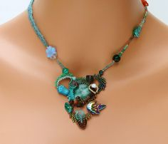 Turquoise Green and Brown Freeform Peyote by PeyoteBeadArt on Etsy, $97.50