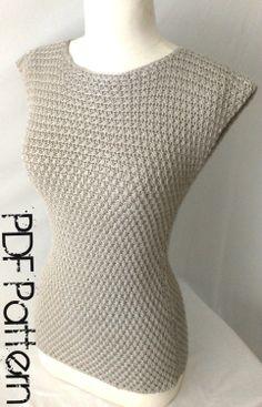 Crochet Summer Top-Asymmetrical Stitch Top-Plus Size Clothing- PDF Pattern. $4.00, via Etsy.