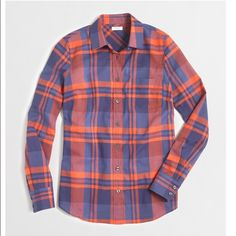 J.Crew Factory classic button down shirt in plaid Faded Twilight color / Cotton / Long sleeves / Machine wash / Fits true to size J. Crew Tops Button Down Shirts