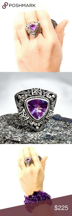 "Vintage Robert Manse Sterling Amethyst Ring-8 Unbelievable, Huge Vintage Robert Manse Sterling Amethyst Ring- Size 8. Outstanding scrollwork on face and band. Hand-signed by Manse. Face measures just under 2"". In perfect condition. Vintage Jewelry Rings"