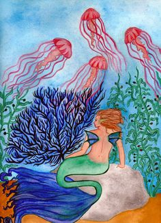 Humans gaze at clouds, mermaids gaze up at jellyfish! Watercolors on 11x14in art stock paper.
