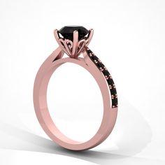 #rosegoldring #blackdiamond #engagementring