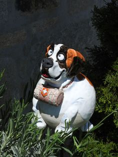 Fresh Keramik Bernhardiner Gartenkugel Frostfest Dekoration Garten Terrasse Hund Deko