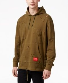 Reason Men's Taft Distressed Hoodie  - Green M