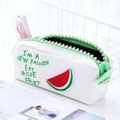 Très pastèque 😂🍉 mais super cute #trousse #pastèque Back To School Supplies List, College School Supplies, Stationary Supplies, Cute Stationary, Stationery Store, Office Stationery, Cool Pencil Cases, Birthday Wishes For Myself, Paper Crafts Origami