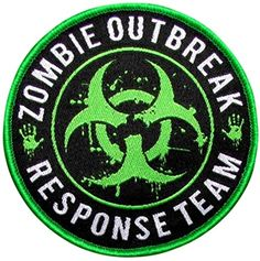 """[Single Count] Custom, Cool & Awesome {3"""" Inches} Round Bounty Hunter Zombie Outbreak Response Team Badge (Tactical Type) Velcro Patch """"Green, White & Black"""" mySimple Products"""