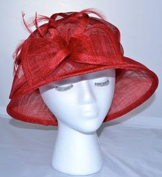 Red Sinamay Kentucky Derby Hat