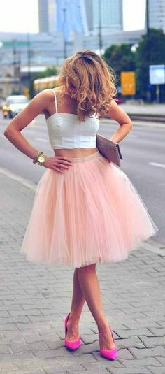 On Sale Beautiful Prom Dresses Short Two Piece Tulle Pink Spaghetti-Strap Sleeveless Homecoming Dresses Looks Street Style, Looks Style, Trend Fashion, Look Fashion, Skirt Fashion, Fashion Styles, Fashion Tag, Fashion Heels, Spring Fashion