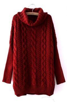 Wine Red High Neck Long Sleeve Split Sweater #SheInside