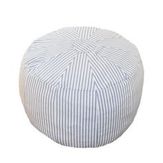Patterned Pouf in Navy Stripe