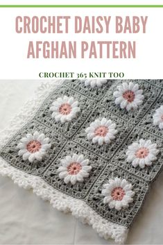 This is the cutest baby afghan ever! Such a perfect gift to welcome a beautiful little girl into the world. Crochet Hexagon Blanket, Baby Girl Crochet Blanket, Crochet Baby Blanket Free Pattern, Granny Square Crochet Pattern, Flower Granny Square, Crocheted Baby Afghans, Baby Granny Square Blanket, Free Crochet Square, Crochet Border Patterns