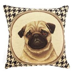 "Two's Company ""Pied de Poule"" Houndstooth Pug Pillow"