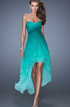234bc0045b High-low Sweetheart Ombre Chiffon Sleeveless Prom Dress, Sexy Prom Dress  Rövid Ruhák,