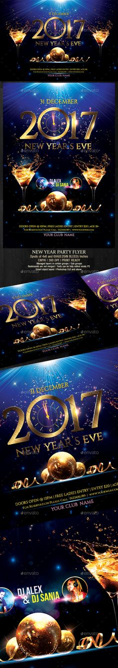 #New Year Party #Flyer - Clubs & Parties #Events Download here: https://graphicriver.net/item/new-year-party-flyer/19112972?ref=carlyalexa