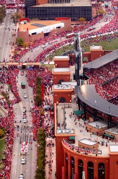 The St. Louis Cardinals are given a victory parade in downtown  St. Louis Sunday Oct. 30, 2011 after winning the 2011 World Series  against the Texas Rangers. The view is looking north on 8th Street  from Interstate 40.