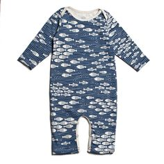 Long-Sleeve Romper - Under The Sea NavyWinter Water Factory clothing for baby