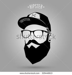 hipster man face with cap on gray background