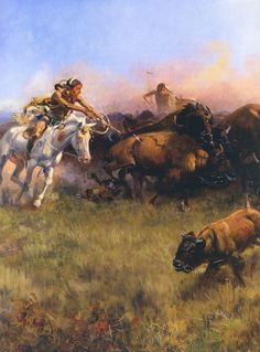 Buffalo Hunt by C.M. Russell c1919