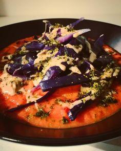 Smoky Tomato-Carrot-Sweet Potato soup,Tahini red Cabbage, Kale chips #Steam #Veggies #Flavor #Warm #Food #Vegan