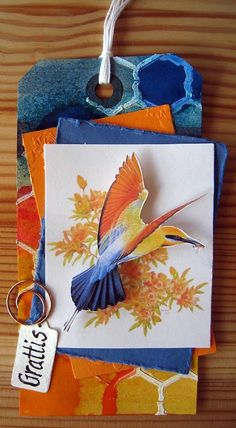 Blue and orange tag