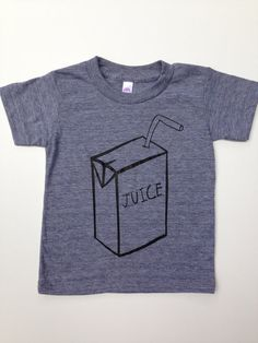 Kids Unisex Juice Box Tri-Blend Grey Tee Tshirt - Boys or Girls Baby, Toddler Clothing, Photo Shoot Birthday Party Back To School