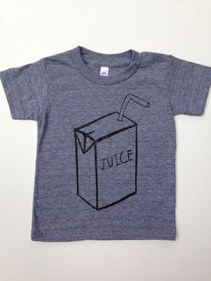 Kids Unisex Juice Box Tri-Blend Grey Tee Tshirt - Boys or Girls Baby, Toddler Clothing, Photo Shoot Birthday Party Back To School