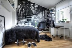 black and white small bedroom with accent wall