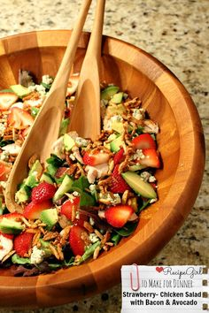 Strawberry- Chicken Salad with Bacon and Avocado - from RecipeGirl.com