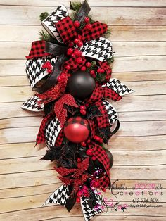 christmas wreath swag buffalo plaid christmas swag red black check christmas wreath - Red And Black Plaid Christmas Decor