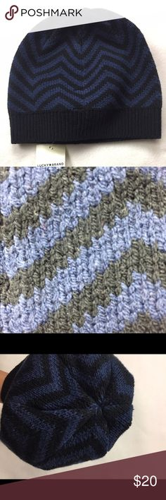 Exploded geo beani- Lucky Brand- NEW It is navy blue and black chevron. It is nice and wide so it is perfect to slouch. This beani would be great for lunch or a walking around town. Lucky Brand Accessories Hats