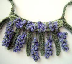 Crochet Necklace LAVENDER flowers