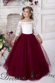 Burgundy Flower Girls Dresses for Weddings 2018 Off Shoulder Long Sleeves Puffy Tulle Girls Party Pageant Dress Burgundy Flower Girls Dresses for Weddings 2018 Off Shoulder Long Sleeves Puffy Tulle Girls Party Pageant Dress
