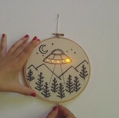 And adorable embroidery by a.mao.handmade | Poppytalk #embroidery #hoopart #ufo #aliens #needlepunch #art