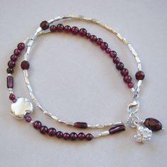 U&C Sundance Garnet Garland 925 Sterling Silver Clover Bead Two Strands Bracelet #YuliyaDesigns #Beaded