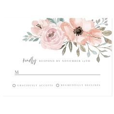 Blush Florals RSVP Reply Card | Forever Your Prints