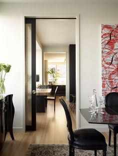 Contemporary baseboard trim dining room contemporary with sliding doors wood flooring pocket doors Wood Baseboard, Baseboard Styles, Modern Baseboards, Baseboard Molding, Moulding, Rustic Dining Room Sets, Dining Room Furniture Sets, Dining Set, Wrought Iron Doors
