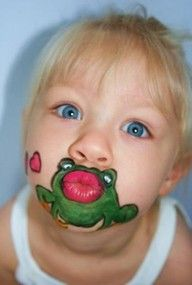I Kissed A Frog- face painting! Would look so cute on a Princess Tiana costume.