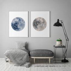 Blue Watercolor Moon, Blue Full Moon Print, Set of 2, La Luna, Full Moon Printable, Indigo, Blue Gray Wall Art, Minimalist Poster Home Decor