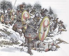 """Late Roman soldiers - Aegidius' troops advance in the Gallic snow to inflict a crushing defeat on the Visigoths and Ravenna's nominated general, Agrippinus. From this moment, the Roman government of Gaul became independent of the Western Empire, Aegidius being loyal to the executed emperor Majorian. Aegidius ' """"kingdom"""" survived nearly 30 years."""