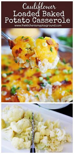 Cauliflower {Just Like} Loaded Baked Potato Casserole ~ you certainly won't miss the potato. This has all the loaded flavor without it! www. Recipe For Loaded Cauliflower, Baked Cauliflower Casserole, Twice Baked Cauliflower, Loaded Baked Potato Casserole, Cauliflower Potatoes, Loaded Baked Potatoes, Loaded Potato, Califlower Casserole, Mashed Potatoes