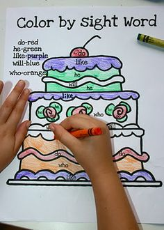 color by sight word - love this I used to do a similar thing with my PreK class but it was by shape! - Re-pinned by @PediaStaff – Please Visit http://ht.ly/63sNt for all our pediatric therapy pins