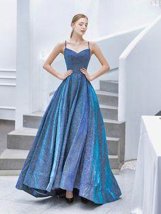 In Stock:Ship in 48 Hours Blue Spaghetti Straps Prom dresses blue Straps Prom Dresses, Cute Prom Dresses, Event Dresses, Ball Dresses, Pretty Dresses, Beautiful Dresses, Ball Gowns, Prom Dresses Spaghetti Strap, Colorful Prom Dresses